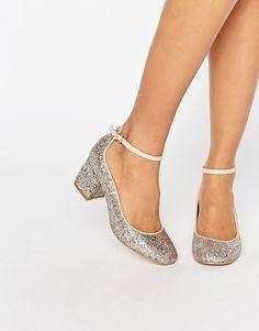 Carvela Glitter Mid Heel Ankle Strap Shoe