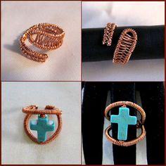 Δαχτυλίδι από σύρμα χαλκού και σταυρό από Χαολίτη.