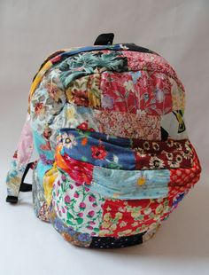 Patchwork Backpack handmade of colorful patches of by JunkinJulies, $36.00