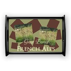 Add your holiday snaps and text! Cute French Alps Great Burnet Flower Coffee Tray #personalized