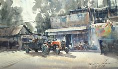 Tractor front a shop, Kandy, Sri Lanka (watercolor, 26x43 cm)