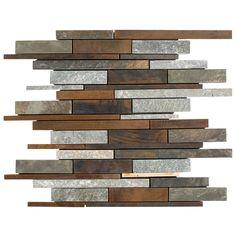 Metal Wall Panel, Metal Walls, Mosaic Glass, Mosaic Tiles, Copper Backsplash, Countertop, Brick Cladding, Polished Porcelain Tiles, Rustic Kitchen