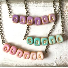Small Girl Necklace Colourful Name necklace for by Palomaria