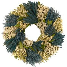 "I pinned this 16"" Preserved Indigo Garden Wreath from the Floral Treasure event at Joss and Main!"