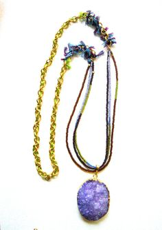 Amethyst purple druzy stone dipped in 22K gold by NKcollection, $115.00