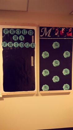 Tiffany & Co. inspired bulletin boards. My proud RA fridge for residents to put pictures, drawings, etc. (picture taken before residents moved in) and Spring semester about me. Since it was the second semester, I changed it to more fun facts then the basic Major, classification, hometown stuff.
