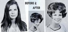 1960s: straight-haired hippie girl goes to the salon, gets a hairdo like her mother and becomes a model teenager!