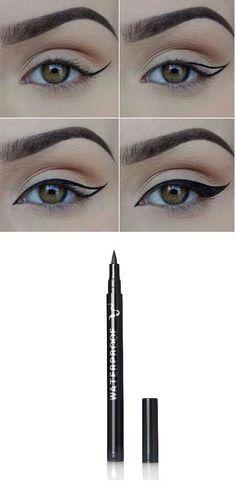 Black, Smudge-proof, Waterproof and Long Lasting Eye Liner Pencil #Eyemakeupideas Eye Makeup Tips, Makeup Goals, Skin Makeup, Makeup Ideas, Makeup Tutorials, Makeup Hacks, Makeup Brushes, Makeup Products, Easy Makeup