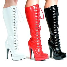 Front Lacing D Ring Platform Knee Boot Black Red White 551-TROY