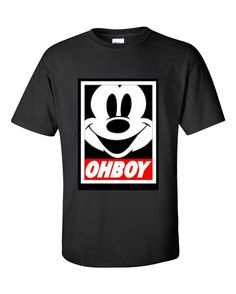 Oh Boy Mickey Mouse Inspired Obey men Tshirt by CustomWorldCA