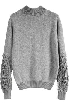 Grey Cable Knit Paneled Mock Neck Sweater OASAP.com