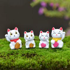 1Pcs Lucky Money Cat DIY Resin Fairy Garden Craft Decoration Miniature Micro Gnome Terrarium Gift F0067