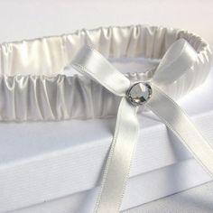 Modern silk vintage wedding garter with diamante crystal