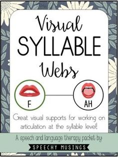 Amazing visuals to increase your speech and language students success working at the syllable level! From Speechy Musings.