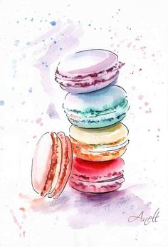 Watercolor macaroon painting from etsy for Faerin's nursery