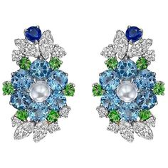 Raymond C. Yard Multicolored Gemstone Diamond Platinum Cluster Earrings   From a unique collection of vintage clip-on earrings at https://www.1stdibs.com/jewelry/earrings/clip-on-earrings/
