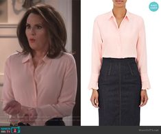 Silk Satin-Back Crepe Blouse by Barneys New York worn by Megan Mullally on Will & Grace