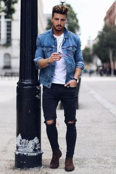 How to wear denim jacket for men #mensfashion #denimjacket #fashion #MensFashionDenim