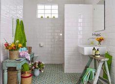 Inspiración para el baño en tonos verdes