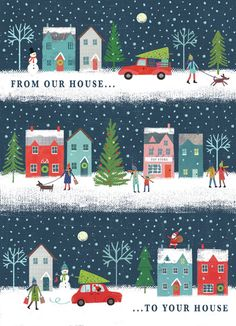 Joanne Cave   Advocate Art Noel Christmas, Christmas Crafts, Christmas Houses, Christmas Ideas, Happy Birthday Floral, Birthday Wishes, Mery Chrismas, Winter Illustration, Winter Magic
