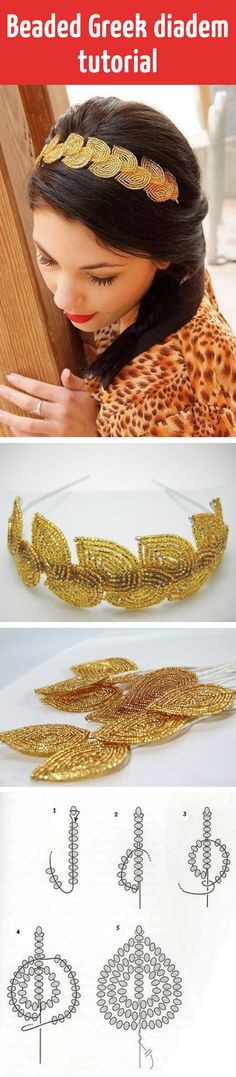 Beaded Greek diadem tutorial