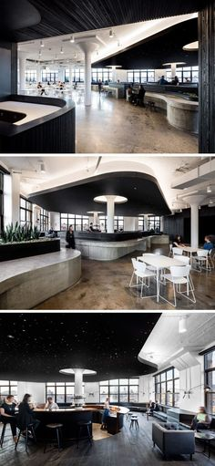 I like the fact that the ceiling color changes (not saying I like the black in particular though) to better create different spaces and to separate them. ~~~ This office cafeteria has curved concrete bars and a dramatic black ceiling. Corporate Interior Design, Corporate Interiors, Office Interiors, Office Space Design, Workplace Design, Office Ceiling Design, Design Commercial, Commercial Interiors, Café Restaurant