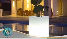 گلدان استوانه مخصوص فضای باز خارجی ساختمان مسکونی با قابلیت نورپردازی با LED
