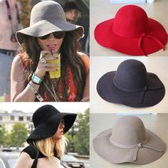 Womens Fedora Floppy Hat Stylish Felt Hat Wide Brim Showroomex   BOHO inspired goodies on eBay