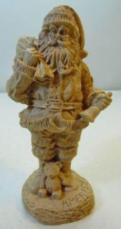 America-Santa-Claus-Figure-Clay-or-Resin-Light-Color-Wood-Look-Textured-Finish
