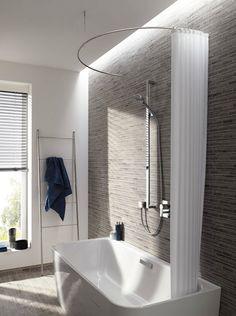 Curved shower curtain - Duschvorhangstange Edelstahl als Halbkreis mit Deckenbefestigung DR700HD