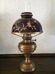 LaLamp Belge Antique Brass Oil Lamp with Glass Shade