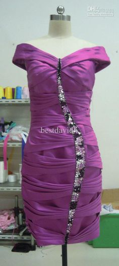 Short Purple Off The Shoulder Cocktail Party Dress Straight V Neck Beaded Asymmetrical Ruched 95430c Ball Gowns Casual Dresses From Bestdavid, $90.44  Dhgate.Com