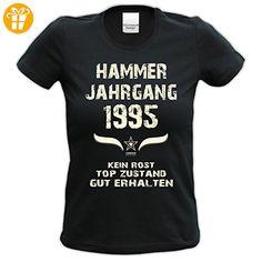 Damen Girlie Kurzarm Jahreszahl Sprüche T-Shirt :-: Geburtstagsgeschenk Geschenkidee für Frauen zum 22. Geburtstag :-: Hammer Jahrgang 1995 :-: Jahrgangs-Aufdruck :-: Farbe: schwarz Gr: L (*Partner-Link)