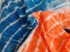 Indian Abstract Indigo Blue and orange Tie Dyed Cotton Fabric Shibori itajime Techniques Quilting Pure Cotton Fabric Apperael For Crafting Shibori Fabric, Shibori Tie Dye, Blue Tie Dye, Tie Dyed, Blue Cushion Covers, Orange Tie, Indigo Dye, Fabric Design, Cotton Fabric
