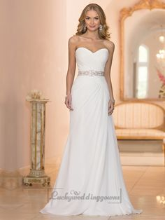 Chiffon Sheath Criss-cross Sweetheart Ruched Bodice Wedding Dresses