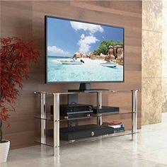 Fitueyes high quality corner tv stand/Classic Clear Tempered Glass Tv Stand Fit for up to LCD LED Oled Tvs Cool Furniture, Living Room Furniture, Living Room Decor, Entertainment Furniture, Entertainment Center, Flat Screen Tv Stand, Universal Tv Stand, Glass Tv Stand, Television Stands