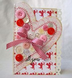 Valentine card--love the buttons!