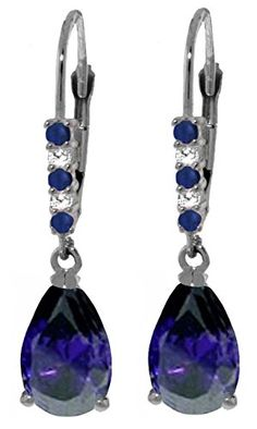 14K White Gold Leverback Earrings with Natural Diamonds and Sapphires ** See this great product.