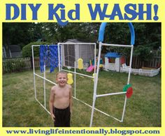 Back Yard Kid Wash - Monkey wants to make an automated car wash like Curious George did; maybe build from this idea.
