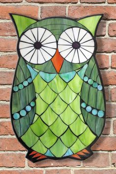 Learn the art of Stained Glass Mosaics! Sign up for the Online Class via www.kasiamosaicsclasses.com  Student Work from a Kasia Mosaics Stained Glass Mosaic Owl Workshop - Mosaic Owl by Anita.