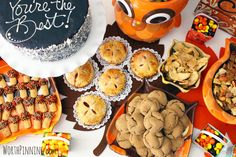 Yummy mini dessert treats at a Thanksgiving Party.  See more party ideas at CatchMyParty.com  #thanksgivingpartyideas