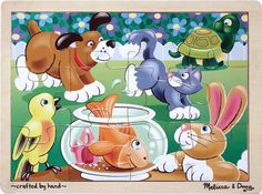 No one is allergic to the lovable pets in this 12-piece wooden jigsaw puzzle! Comes packaged in a sturdy wooden tray for puzzle building and easy storage. This is the ideal introduction to jigsaw sol...