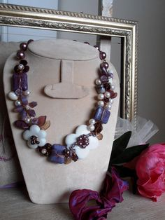 Gorgeous statement amethyst purple bib  necklace by LorellaDia, $80.00