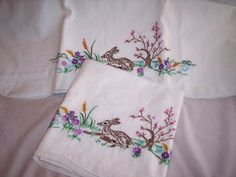 Vintage Embroidered Pillowcases by ThreadsInTapestry on Etsy, $15.00