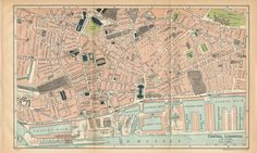 """Vintage map 'Central Liverpool' by John Bartholomew & Son from """"The Blue Guides England"""", Edited by Findlay Muirhead, MacMillan & Co. Liverpool Map, City Maps, Antique Maps, Vintage Prints, Great Britain, United Kingdom, City Photo, Vintage World Maps, London"""