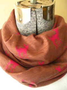 Fuschia Fawn Infinity Scarf- jersey knit, deer, animal, scarf, jersey knit, circle scarf,fall, winter, free shipping #bestofEtsy #gifts