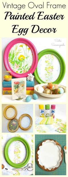Want to create some unusual Easter decor this year? Perfect for hanging, leaning, or used as an Easter wreath, a vintage oval picture frame can be repurposed into DIY Easter egg decor! The shape is just right- and with Springtime colors and vintage floral fabric, a painted Easter Egg is easy to create! Fun, fresh upcycling project that anyone can make. #SadieSeasongoods / www.sadieseasongoods.com