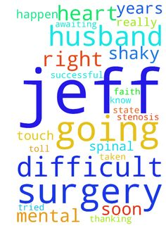 My husband, Jeff, is going through a very difficult -  My husband, Jeff, is going through a very difficult time right now, while awaiting surgery for SPINAL STENOSIS. His faith has been tried, and his mental and emotional state is shaky. I am praying that the Lord Jesus touch his heart, and let Jeff know that He is and always will be by his side, as will I.  We have had 20+ years together, and this has really taken on a toll on both of us. Please pray that surgery will happen soon, and be…