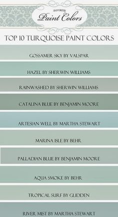 "My Top Ten ""Turquoise"" Paint Colors (Favorite Paint Colors) Happy Friday everyone! Today I am sharing with you my favorite blue/green, or ""turquoise"" paint colors…. Turquoise Paint Colors, Turquoise Painting, Paint Colours, Beach Paint Colors, Turquoise Color Schemes, Top Turquoise, Vintage Paint Colors, Fixer Upper Paint Colors, Office Wall Colors"