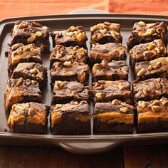 Marbled Chocolate-Pumpkin Brownies If you've never tried pumpkin and chocolate together, give the duo a go in this irresistible and easy recipe for marbled chocolate-pumpkin brownies. P.S.: Flag this brownie recipe for the holidays--they make a great addition to a tray of Christmas cookies.